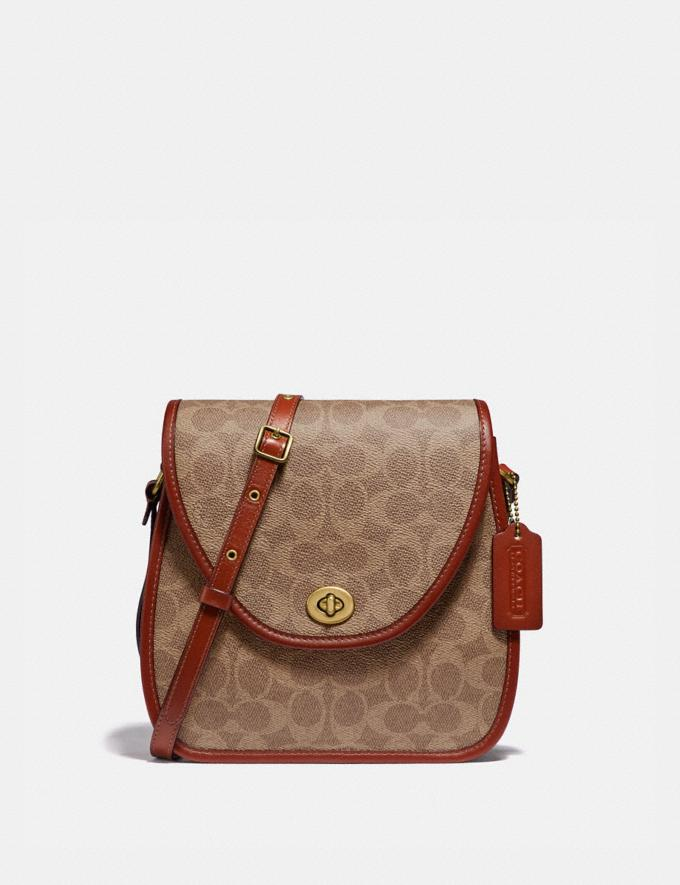 Coach Turnlock Flap Square Pouch in Signature Canvas B4/Tan Rust PRIVATE SALE Women's Sale Bags