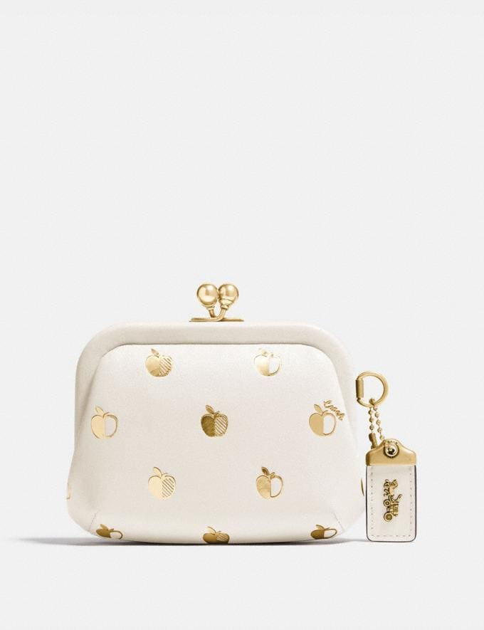 Coach Kisslock Coin Case With Apple Print Brass/Chalk Multi Gifts For Her Under $500