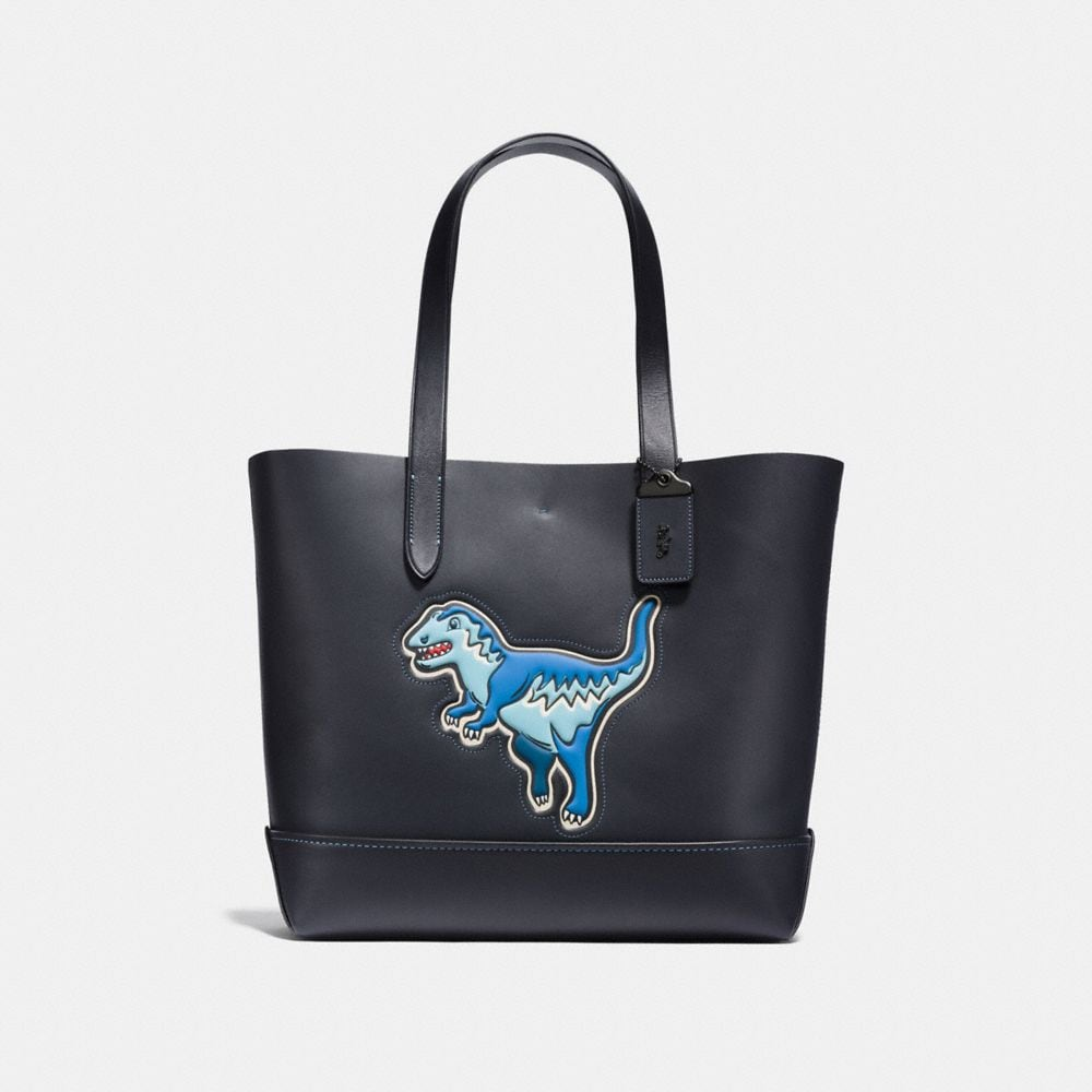 COACH Gotham Tote In Glove Calf Leather With Rexy in Black Copper Finish/Navy/Black