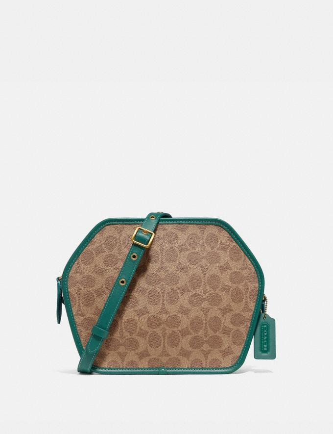 Coach Zip Geometric Pouch in Signature Canvas B4/Tan Dark Aquamarine Women Bags Crossbody Bags