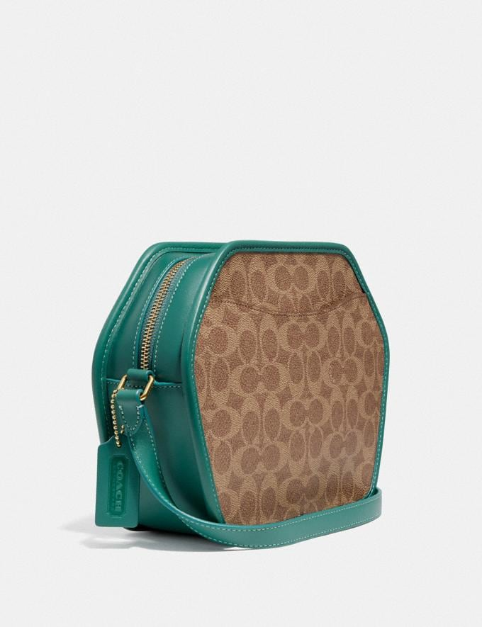 Coach Zip Geometric Pouch in Signature Canvas B4/Tan Dark Aquamarine Women Bags Crossbody Bags Alternate View 1