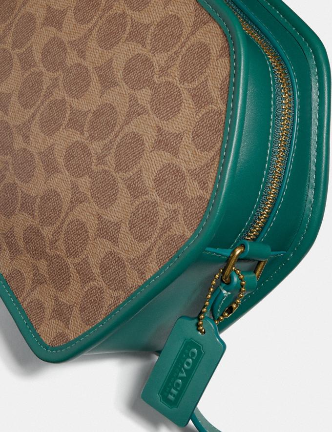 Coach Zip Geometric Pouch in Signature Canvas B4/Tan Dark Aquamarine Gifts For Her Under $500 Alternate View 5