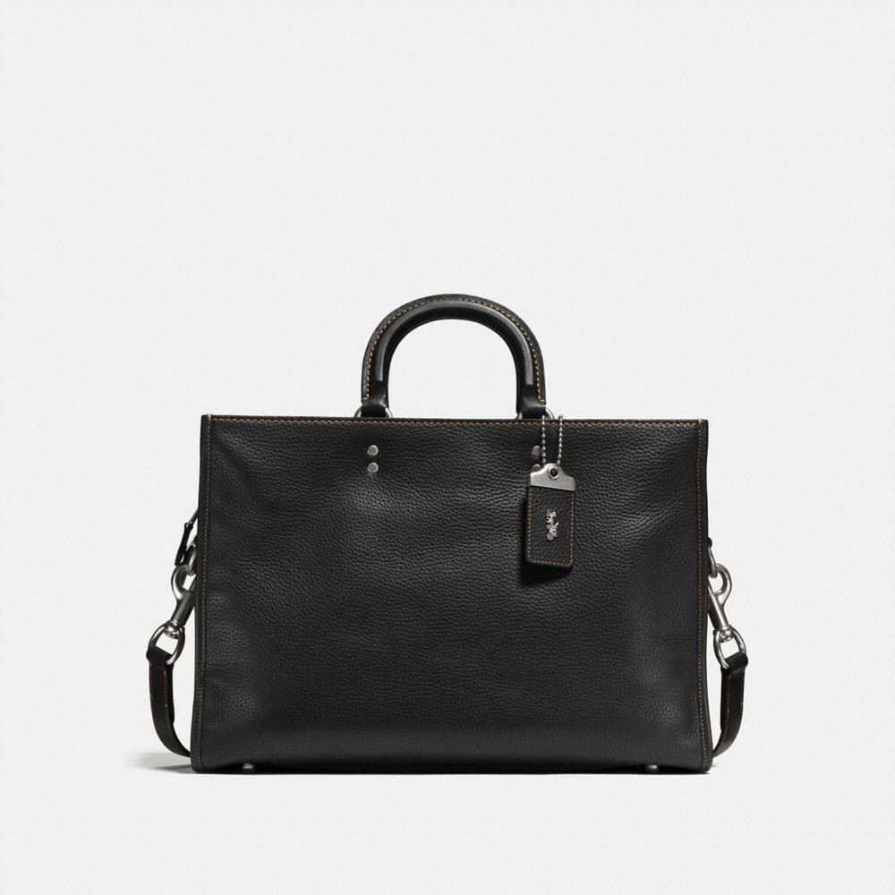 COACH Rogue Brief In Glovetanned Pebble Leather in Light Antique Nickel/Black