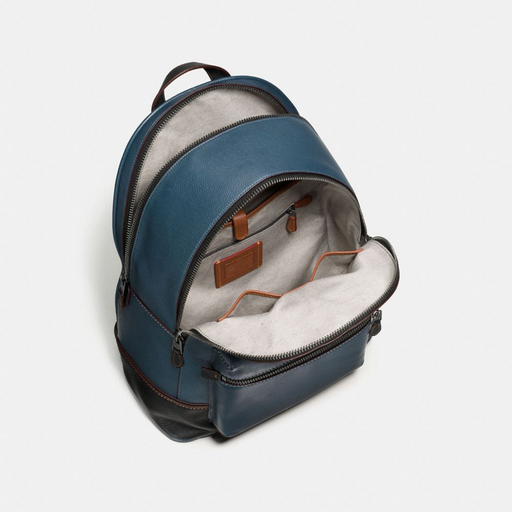 COACH League Backpack In Glovetanned Pebble Leather in : Light Antique Nickel/Black