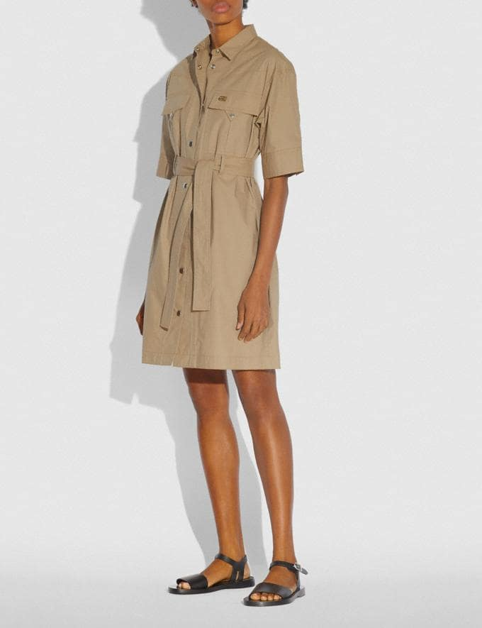 Coach Short Sleeve Safari Shirt Dress Light Beige Women Ready-to-Wear Dresses Alternate View 1