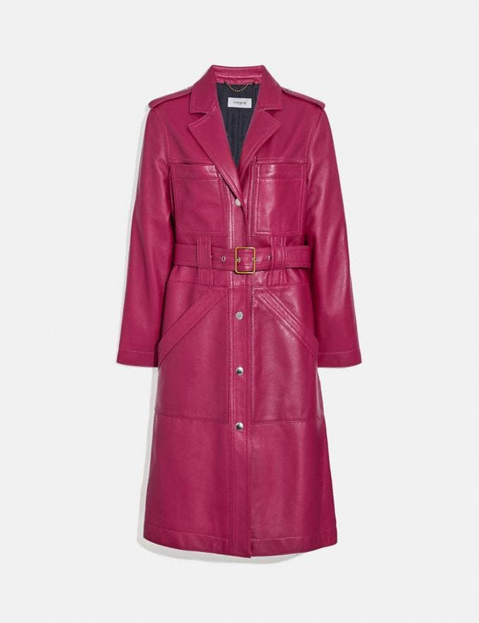 Coach Leather Trench Tweed Berry New Women's New Arrivals