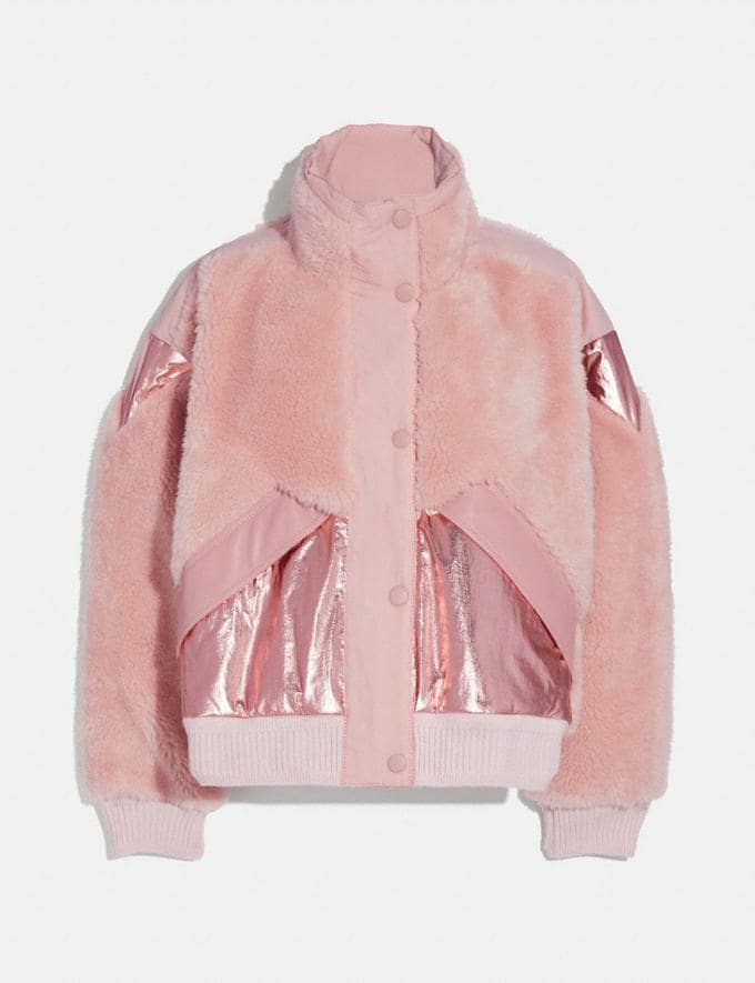 Coach Pieced Fleece Jacket Pink Women Ready-to-Wear