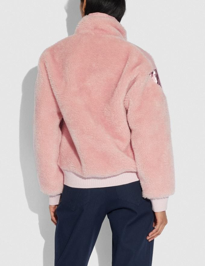 Coach Pieced Fleece Jacket Pink Women Ready-to-Wear Alternate View 2