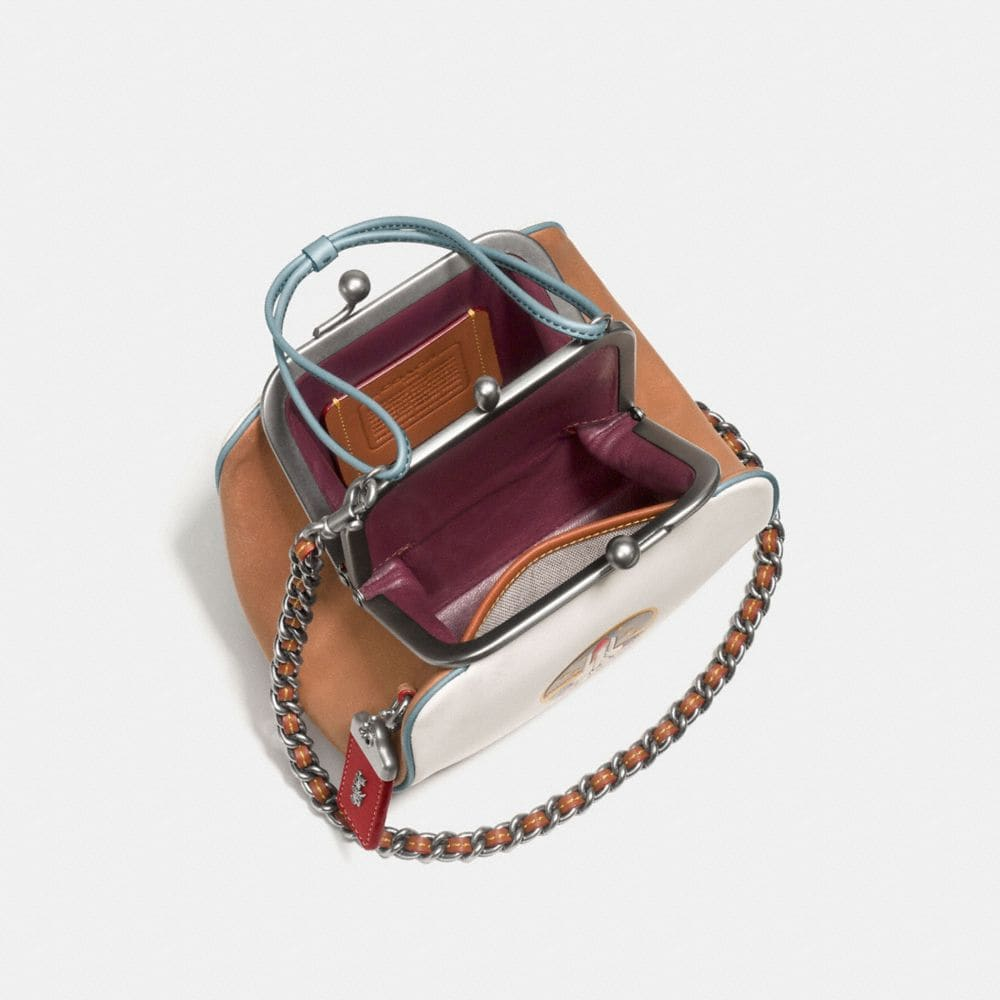 Kisslock Frame Bag in Glovetanned Leather With Embossed Rocket Shuttle - Alternate View A2