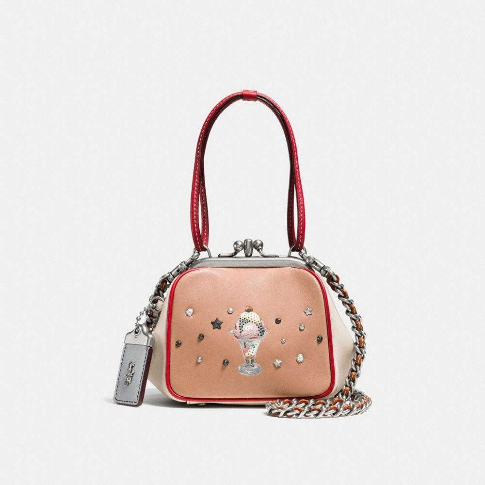 KISSLOCK FRAME BAG 23 IN GLOVETANNED LEATHER WITH SUNDAE EMBELLISHMENT
