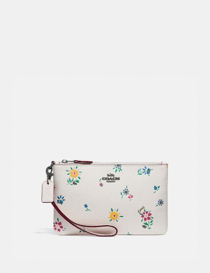 Coach Small Wristlet With Wildflower Print Pewter/Chalk Gifts For Her Under $100