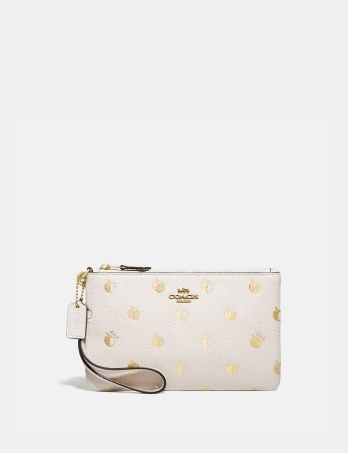 Coach Small Wristlet With Apple Print Brass/Chalk Multi Damen Kleine Lederaccessoires Taschen mit Handschlaufe