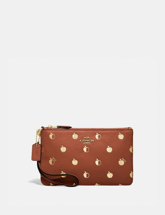 Coach Small Wristlet With Apple Print Brass/Saddle Multi Women Small Leather Goods Wristlets