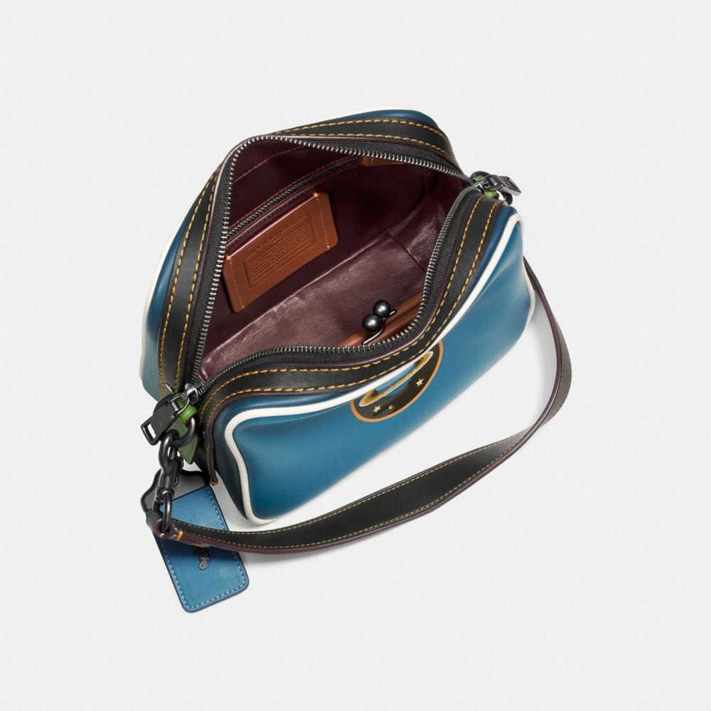 Dylan Crossbody in Glovetanned Leather With Embossed Planet - Alternate View A2