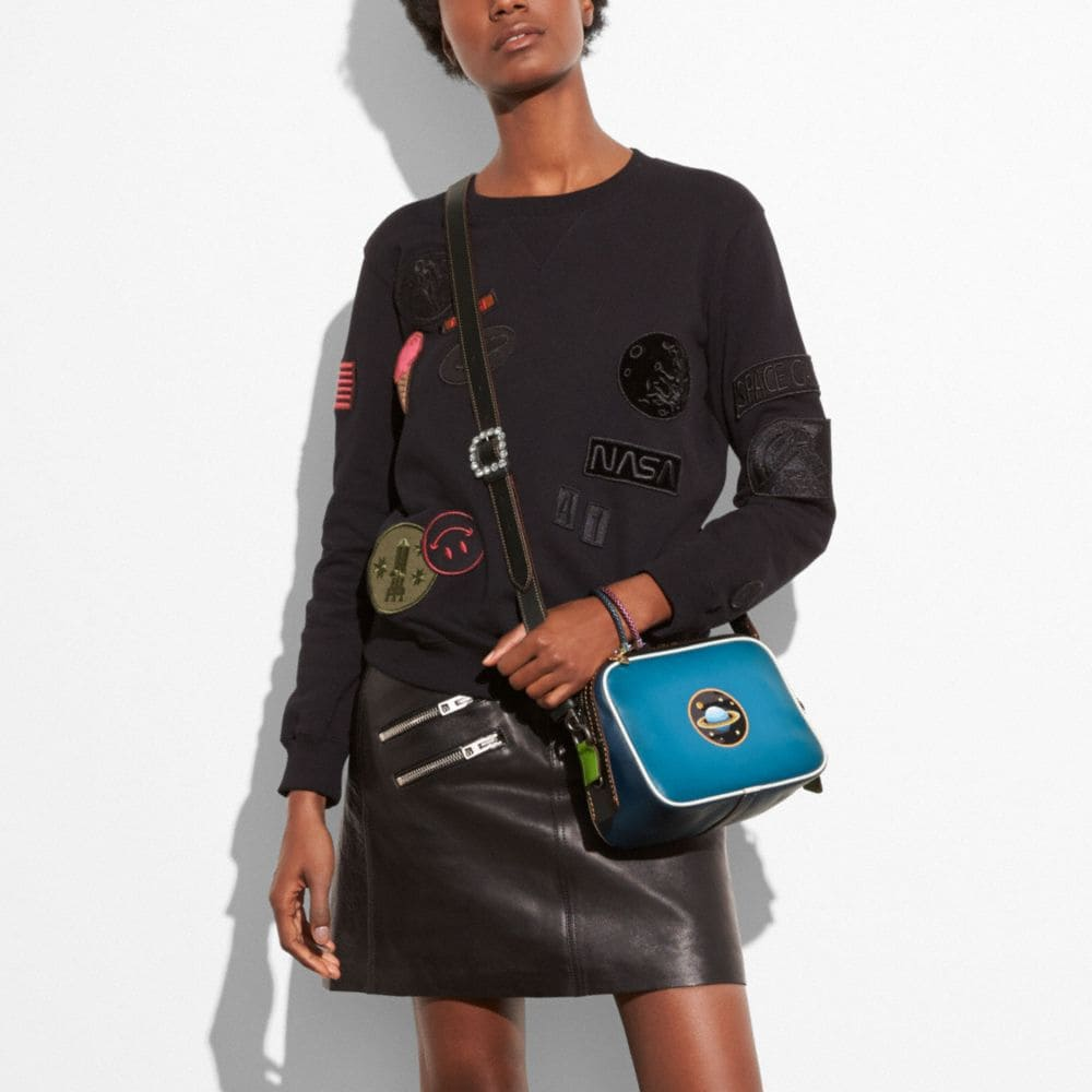 Dylan Crossbody in Glovetanned Leather With Embossed Planet - Alternate View A3