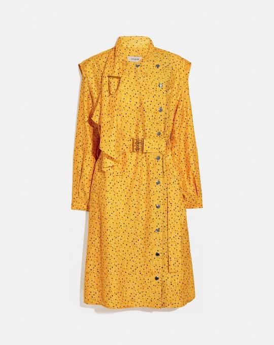 DOT PRINT ARCHITECTURAL DRAPE BELTED DRESS