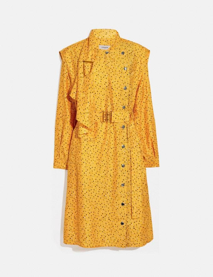 Coach Dot Print Architectural Drape Belted Dress Yellow/Blue Women Ready-to-Wear Dresses