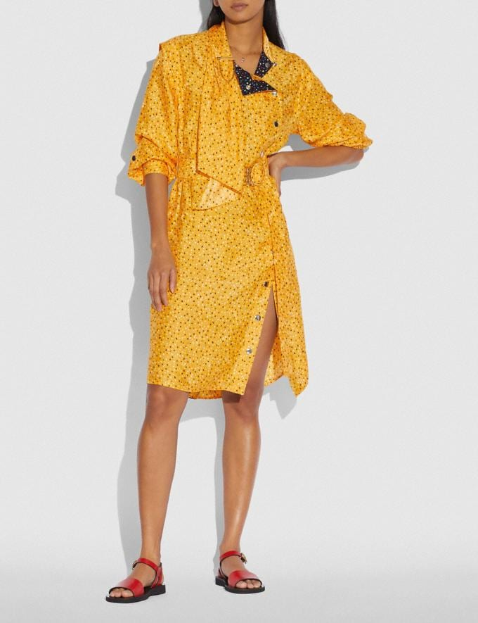 Coach Dot Print Architectural Drape Belted Dress Yellow/Blue Women Ready-to-Wear Dresses Alternate View 1