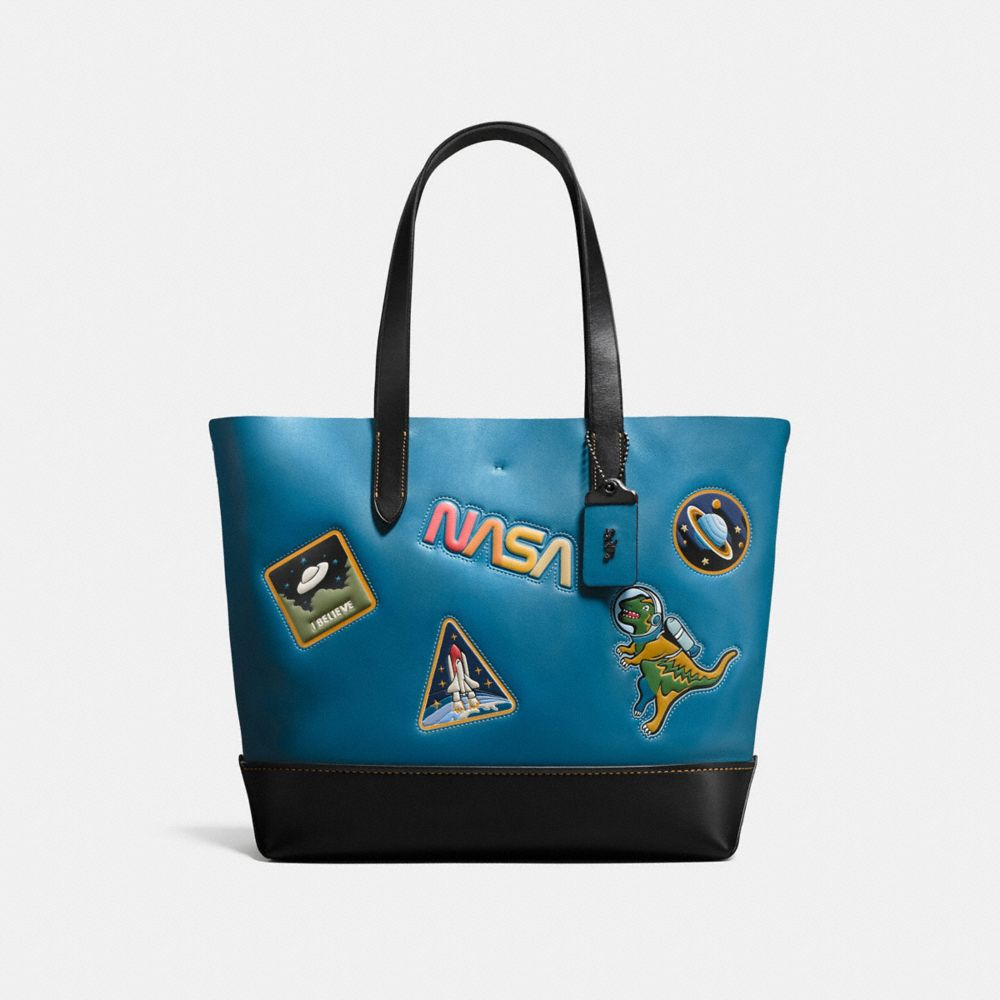 GOTHAM TOTE IN GLOVE CALF LEATHER WITH SPACE PATCHES