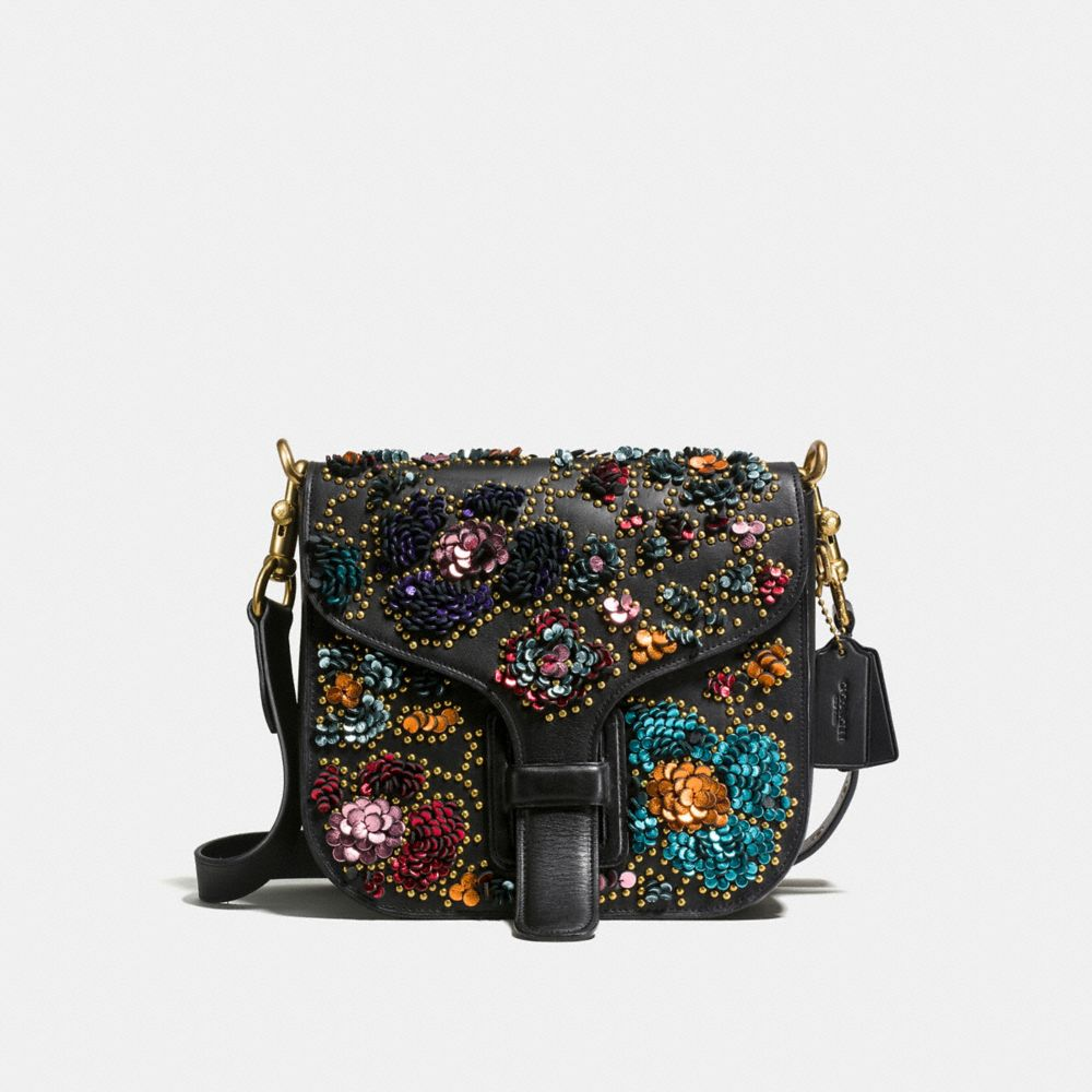 COURIER BAG IN GLOVETANNED LEATHER WITH LEATHER SEQUINS
