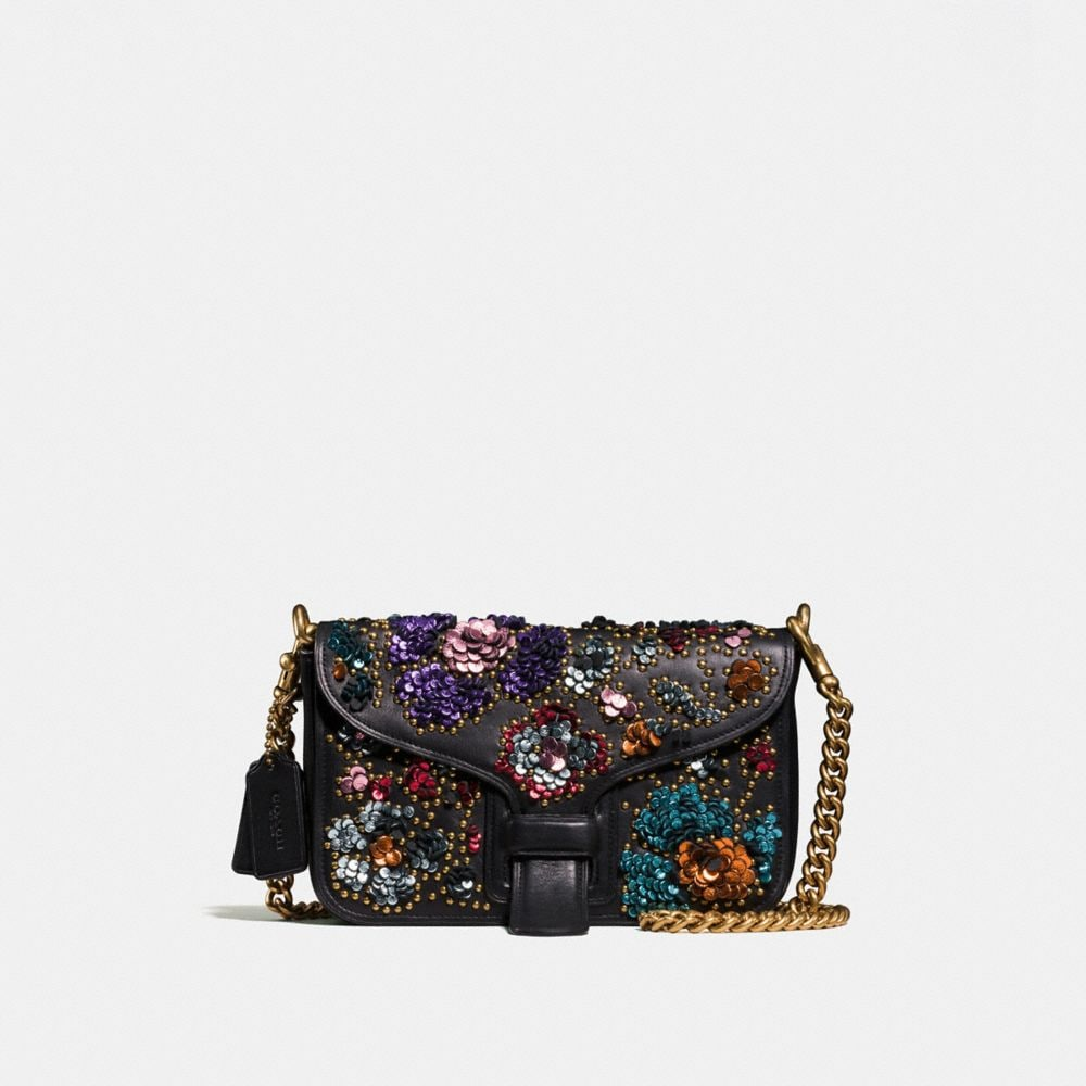 COURIER CROSSBODY IN GLOVETANNED LEATHER WITH LEATHER SEQUINS