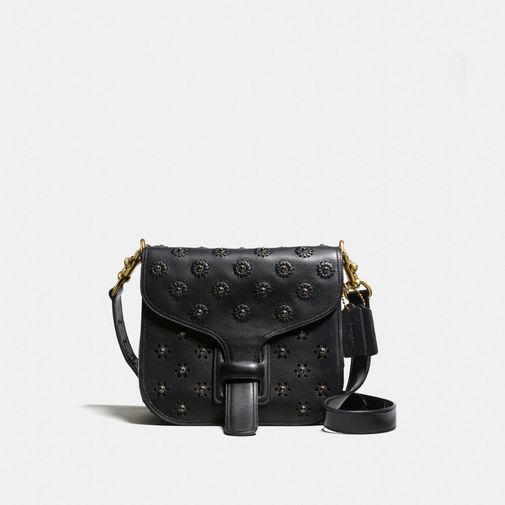 Courier Bag in Glovetanned Leather With Whipstitch Eyelet and Crocodile Detail