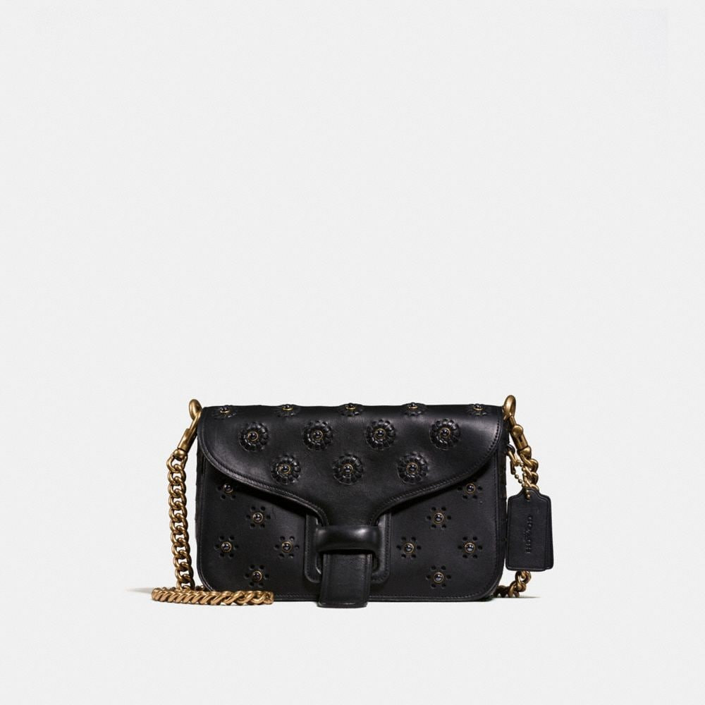 Courier Crossbody in Glovetanned Leather With Whipstitch Eyelet and Crocodile Detail
