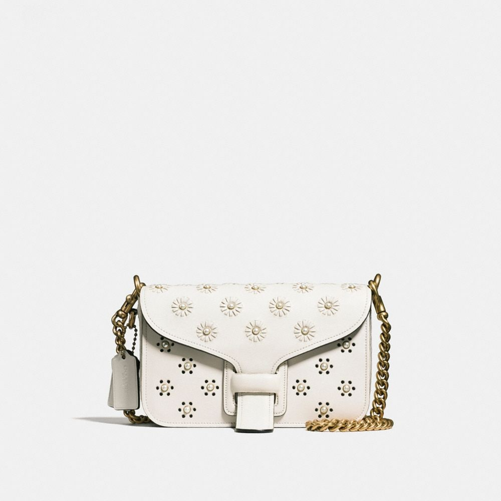 Courier Crossbody in Glovetanned Leather With Whipstitch Eyelet and Snake Detail