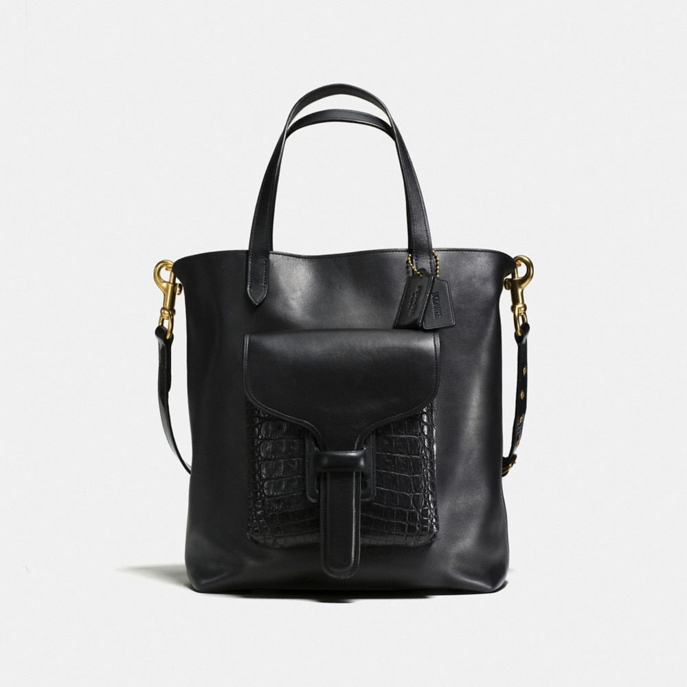 POCKET TOTE IN GLOVETANNED LEATHER WITH CROCODILE DETAIL
