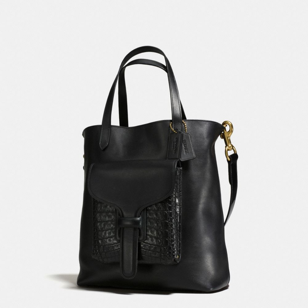 Pocket Tote in Glovetanned Leather With Crocodile Detail - Alternate View A1