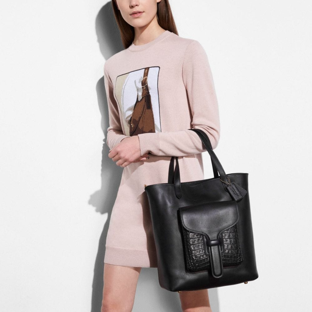 Pocket Tote in Glovetanned Leather With Crocodile Detail - Alternate View A3