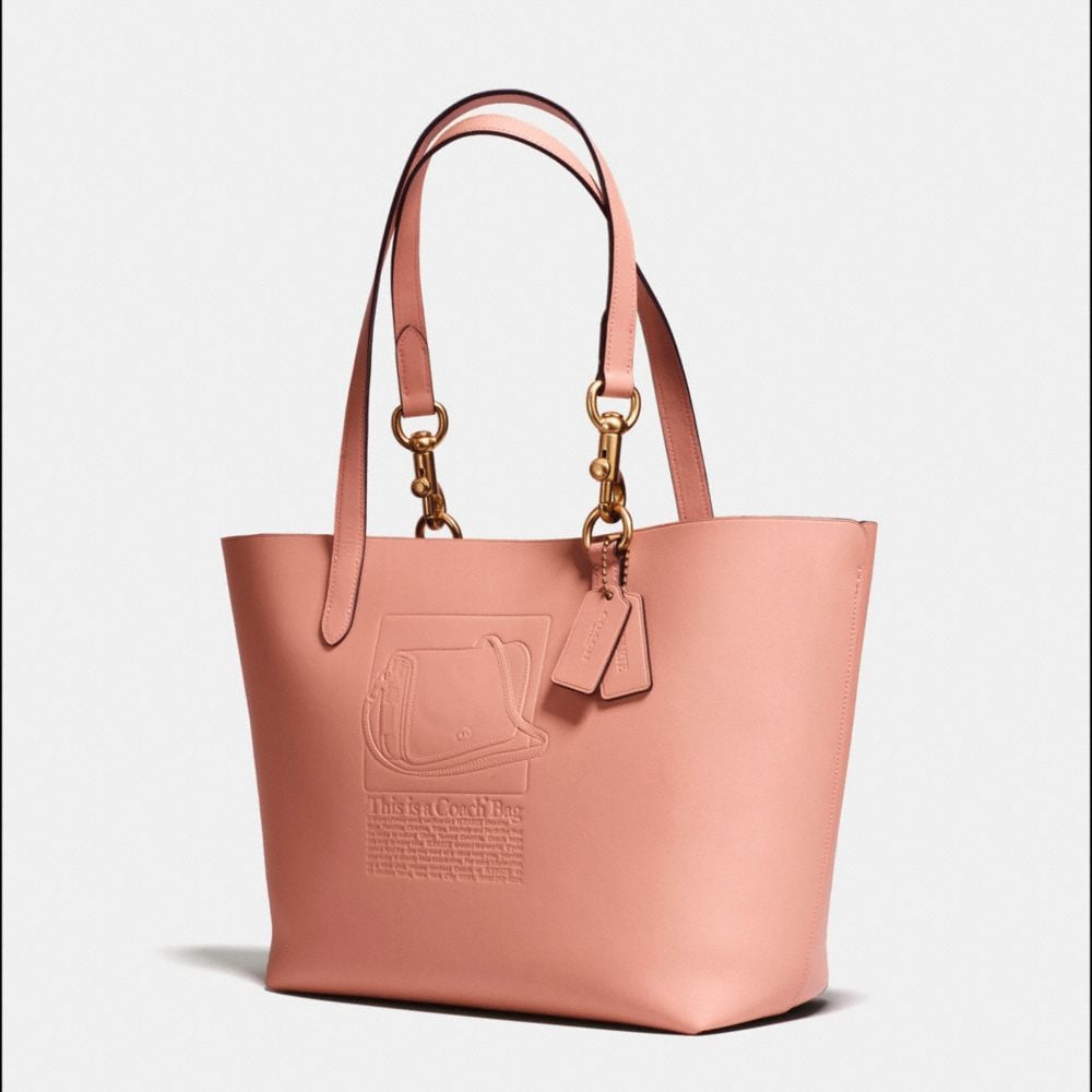 Tote in Glovetanned Leather With Embossed Archive Print - Alternate View A1
