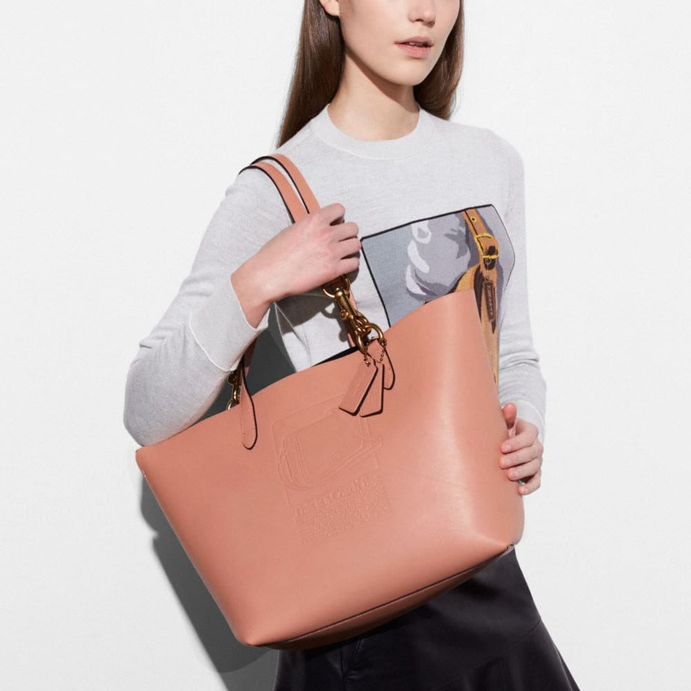 Tote in Glovetanned Leather With Embossed Archive Print - Alternate View A3