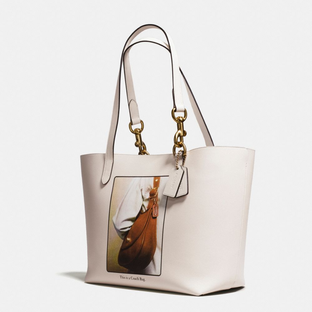 Tote in Glovetanned Leather With Archive Print - Alternate View A1