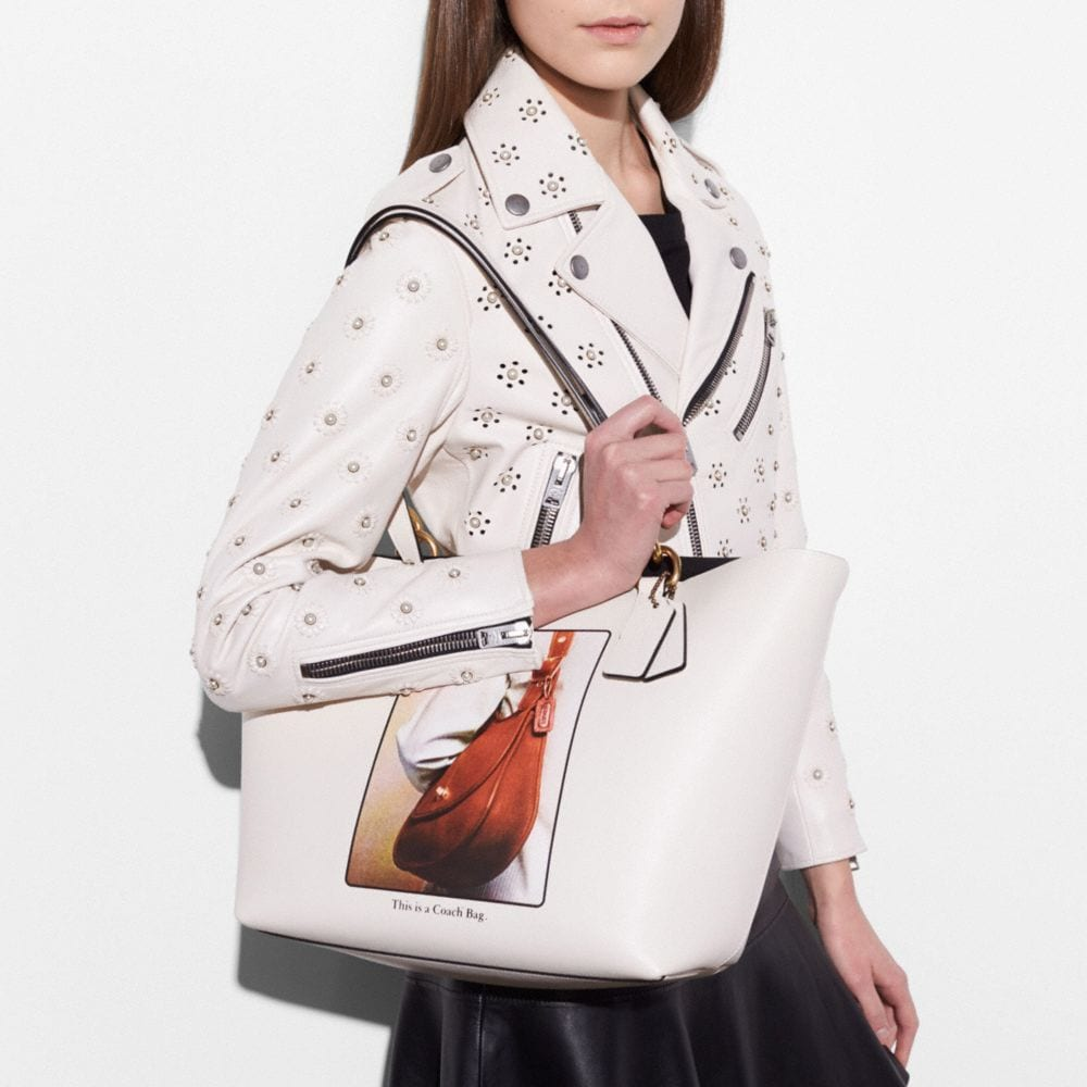 Tote in Glovetanned Leather With Archive Print - Alternate View A3