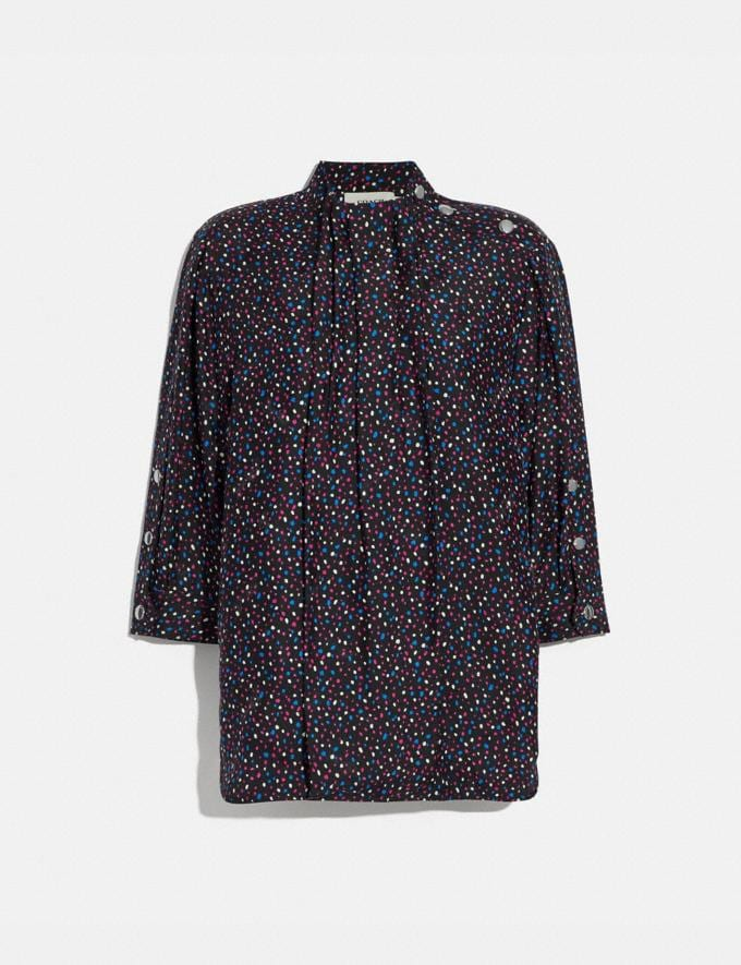 Coach Dot Print Short Sleeve Blouse Black/Blue Women Ready-to-Wear Tops & T-shirts