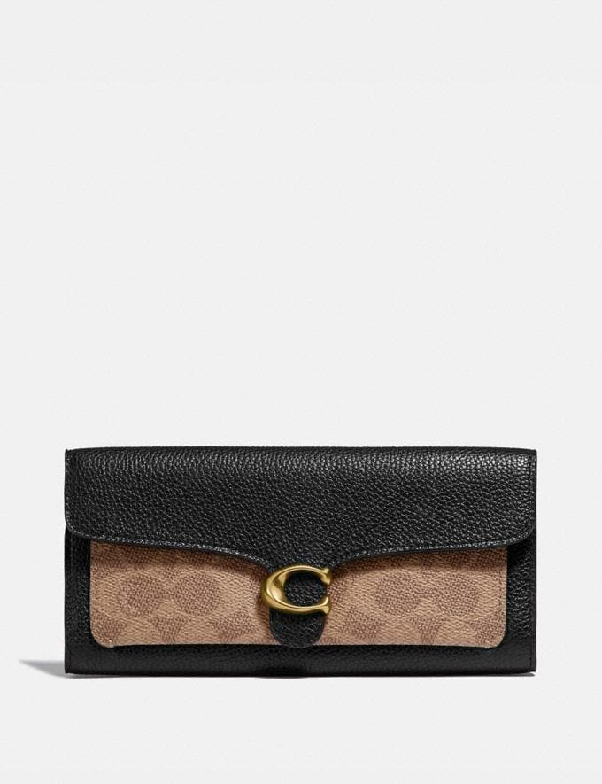 Coach Tabby Long Wallet in Colorblock Signature Canvas B4/Tan Black Women Collection Tabby