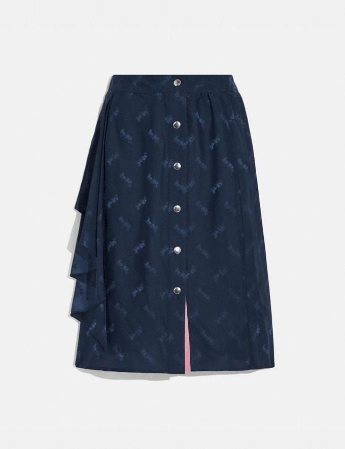 Coach Jacquard Skirt With Front Drape Navy Women Ready-to-Wear Bottoms