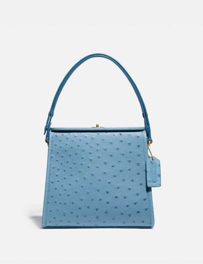 Coach Turnlock Shoulder Bag in Ostrich Brass/Lapis New Women's New Arrivals Collection