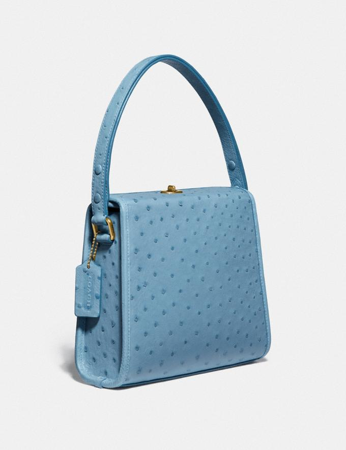 Coach Turnlock Shoulder Bag in Ostrich Brass/Lapis New Women's New Arrivals Collection Alternate View 1