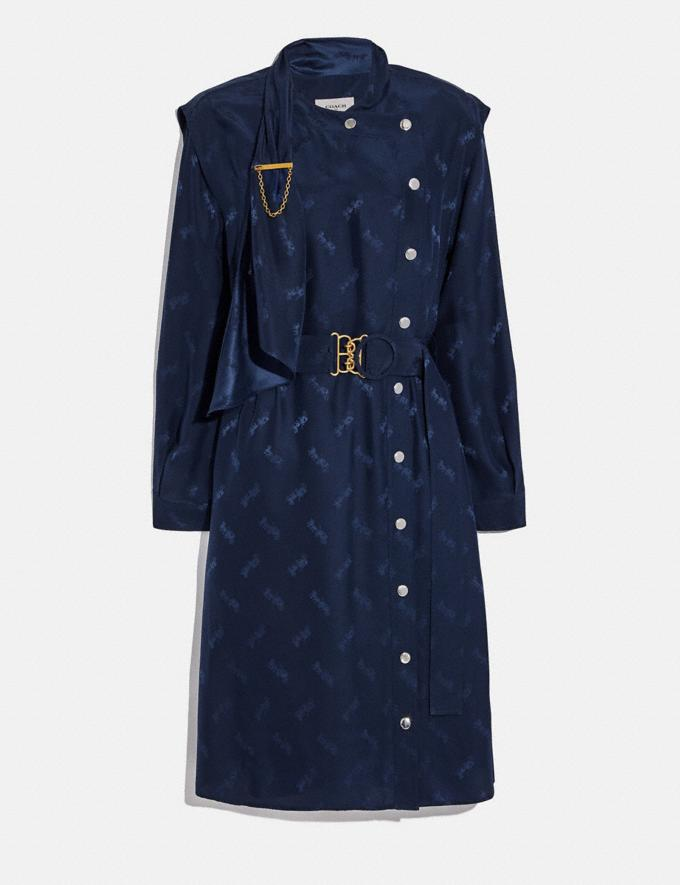 Coach Jacquard Architectural Drape Belted Dress Navy Women Ready-to-Wear Dresses