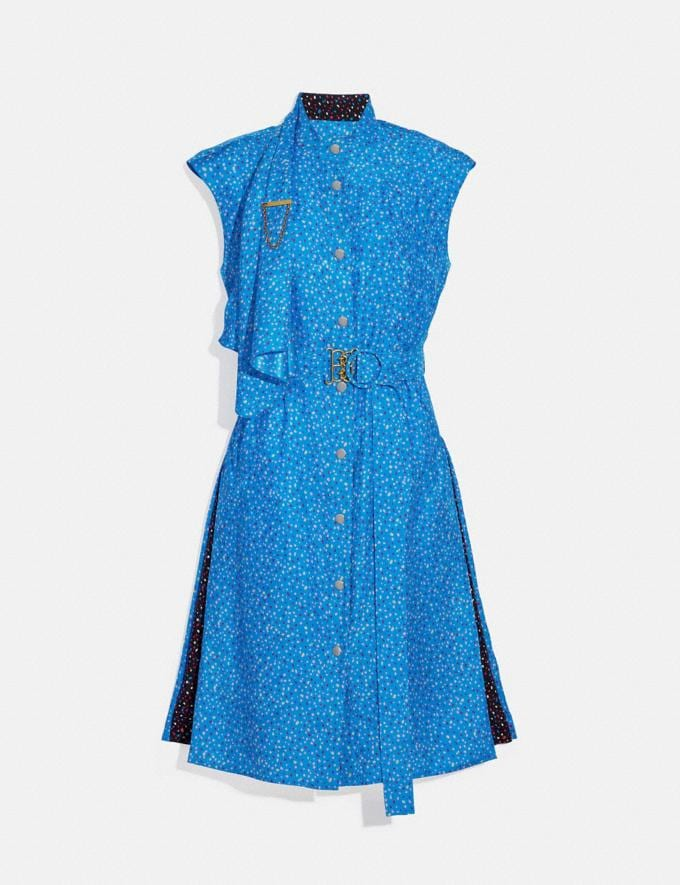 Coach Dot Sleeveless Dress With Belt Blue/Pink Women Ready-to-Wear Dresses