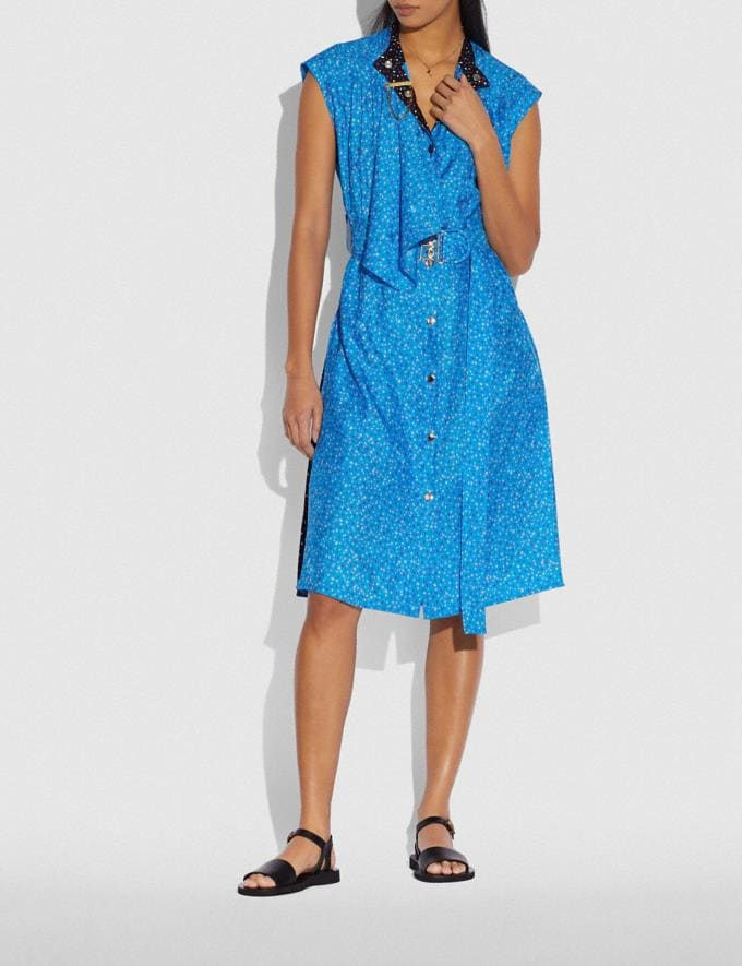 Coach Dot Sleeveless Dress With Belt Blue/Pink New Women's New Arrivals Ready-to-Wear Alternate View 1