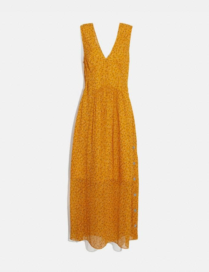 Coach Sleeveless Dot Print V-Neck Dress Yellow/Blue Women Ready-to-Wear Dresses