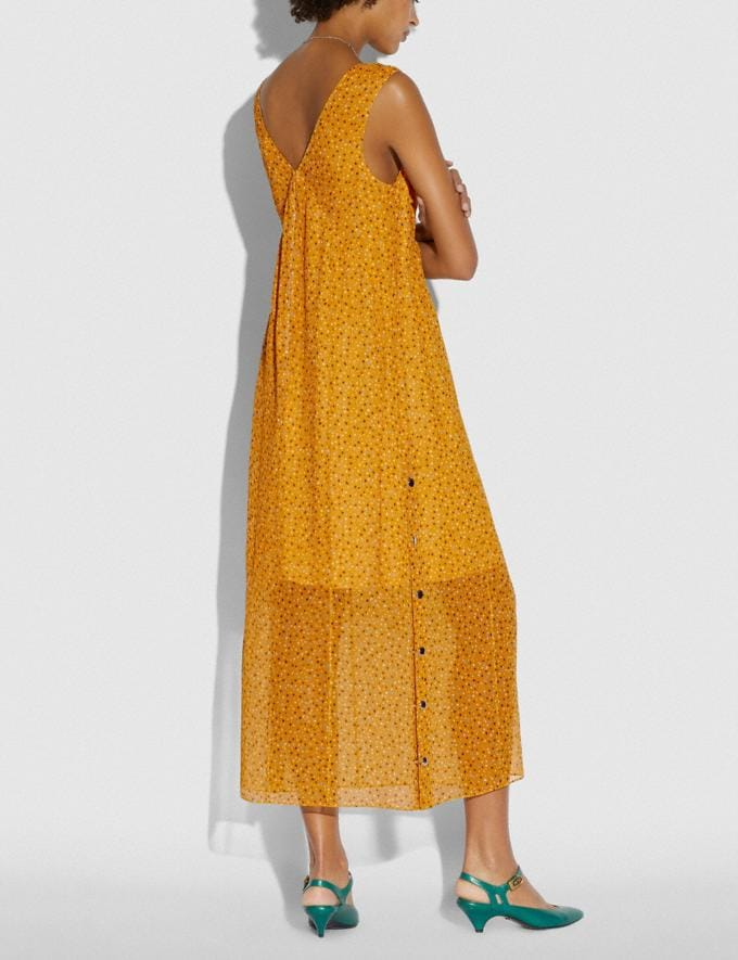 Coach Sleeveless Dot Print V-Neck Dress Yellow/Blue Women Ready-to-Wear Dresses Alternate View 2