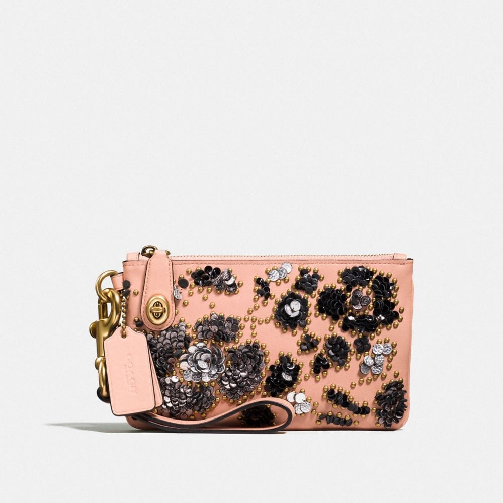 Turnlock Wristlet 21 in Glovetanned Leather With Sequins
