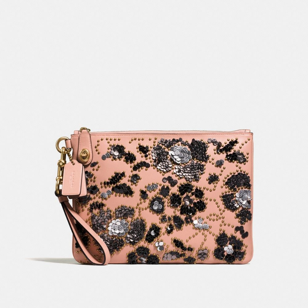 Turnlock Wristlet 30 in Glovetanned Leather With Sequins