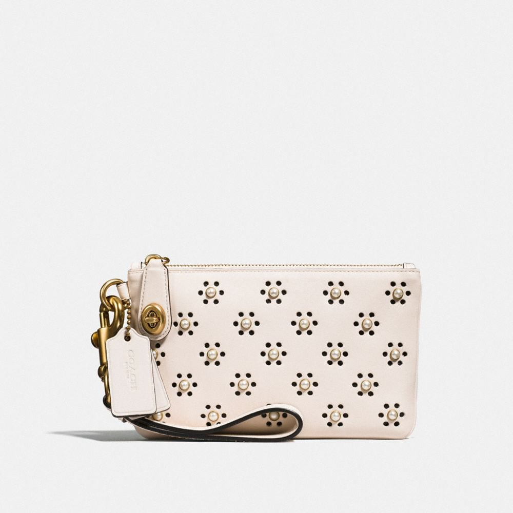 Turnlock Wristlet 21 in Glovetanned Leather With Whipstitch Eyelet and Snake Detail