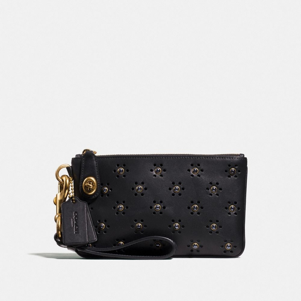 Turnlock Wristlet 21 in Glovetanned Leather With Whipstitch Eyelet