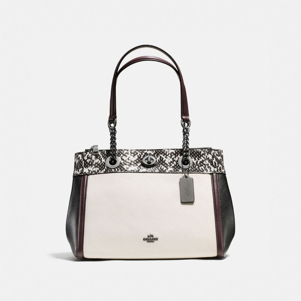 TURNLOCK EDIE CARRYALL IN COLORBLOCK POLISHED PEBBLE LEATHER WITH SNAKE TRIM